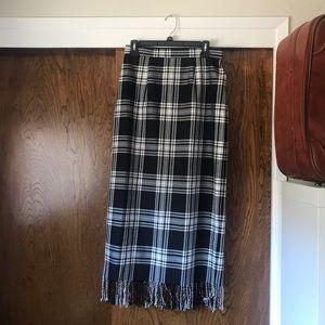 NYCC Plaid Fringe Maxi skirt